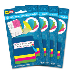 """Redi-Tag Tabbed Divider Notes - 4"""" x 4"""" - Square - Unruled - Assorted - Tab, Self-stick - 4 / Box"""