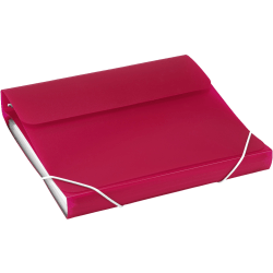 "Samsill® Duo 2-In-1 Poly 7-Pocket Organizer/Ring 3-Ring Binder, 1"" Round Rings, Hot Pink"