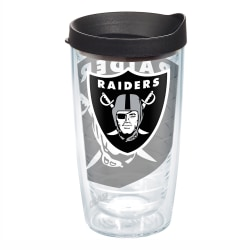 Tervis NFL Tumbler With Lid, 16 Oz, Oakland Raiders, Clear