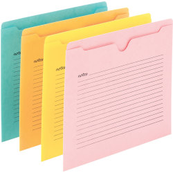 "Smead Straight Tab Cut Letter Recycled File Jacket - 8 1/2"" x 11"" - Aqua, Goldenrod, Pink, Yellow - 10% - 12 / Pack"