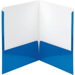 "Smead High Gloss 2-Pocket Folders - Letter - 8 1/2"" x 11"" Sheet Size - 2 Pocket(s) - Blue - 25 / Box"