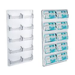 """Azar Displays Business And Gift Card Holders, 10 Pockets, Wall Mount, 10""""H x 3""""W x 18""""D, Clear, Pack Of 2"""