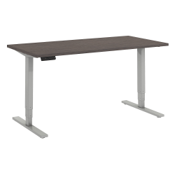 """Bush Business Furniture Move 80 Series 60""""W x 30""""D Height Adjustable Standing Desk, Cocoa/Cool Gray Metallic, Standard Delivery"""