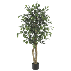 Nearly Natural 4'H Silk Ficus Tree With Plastic Pot, Green/Black