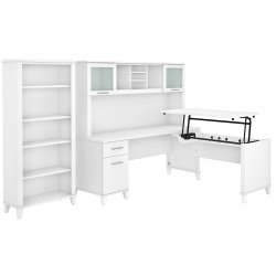 """Bush Furniture Somerset 72""""W 3-Position Sit-To-Stand L-Shaped Desk With Hutch And Bookcase, White, Standard Delivery"""
