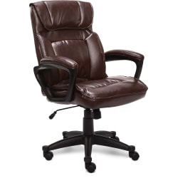 Serta® Style Hannah I Bonded Leather High-Back Office Chair, Comfort Biscuit/Black