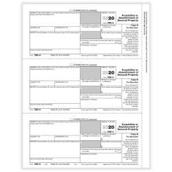 "ComplyRight™ 1099-A Tax Forms, 3-Up, Borrower Copy B, Laser, 8-1/2"" x 11"", Pack Of 150 Forms"