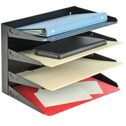 STEELMASTER® Steel Multi-Tier Letter Size Organizers, Black, 4 Trays