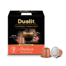 Dualit And Nespresso® Compatible Coffee NX Pods, Indian Monsoon Espresso, 7 Oz, Carton Of 60