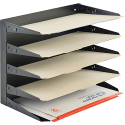 STEELMASTER® Steel Multi-Tier Legal Size Organizer, 5 Trays, Black