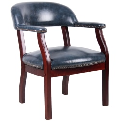 Boss Captain's Guest Arm Chair, Blue/Mahogany