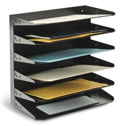 STEELMASTER® Steel Multi-Tier Legal Size Organizer, 6 Trays, Black