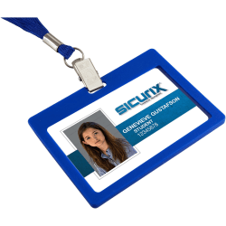 SICURIX Badge Holder - Horizontal - 6 / Pack - Blue