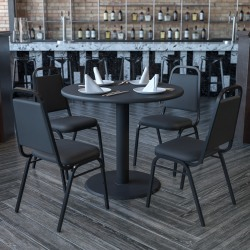 "Flash Furniture Round Table With 4 Banquet Chairs, 30"" x 36"", Black"