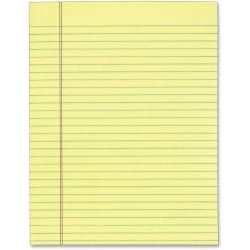 """Tops 7522 Gum Top Pad - 50 Sheets - Glue - Ruled Red Margin - 16 lb Basis Weight - 8 1/2"""" x 11"""" - Canary Paper - Perforated - 12 / Pack"""