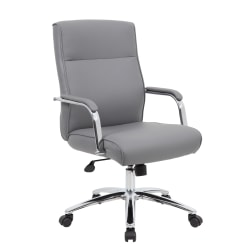 The chair is beautifully upholstered with comfortable and durable Caressoft covering. It features an adjustable tilt tension control, pneumatic gas lift seat height adjustment, and sleek grey upholstery.
