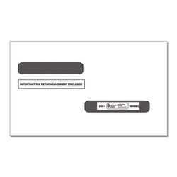 ComplyRight Double-Window Envelopes For W-2 (5216)/1099-R (5175) Tax Forms, Self-Seal, White, Pack Of 100 Envelopes