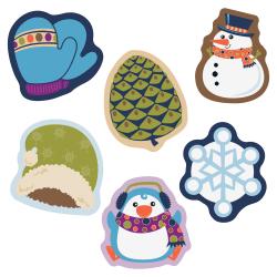 "Carson Dellosa Education Winter Mix Mini Cut-outs - Learning, Fun, Winter Theme/Subject - 8, 8, 8, 4, 4, 6 (Hat, Penguin, Snowman, Mitten, Pinecone, Snowflake) Shape - 3"" Width x 3"" Length - Multicolor - 38 / Pack"