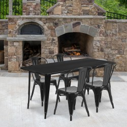 """Flash Furniture Commercial-Grade Rectangular Metal Indoor-Outdoor Table Set With 4 Chairs, 29-1/2""""H x 31-1/2""""W x 63""""D, Black"""