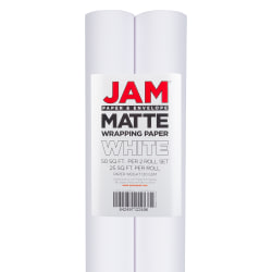 JAM Paper® Wrapping Paper, Matte, 25 Sq Ft, White, Pack of 2 Rolls