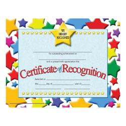"""Hayes Certificates Of Recognition, 8 1/2"""" x 11"""", Multicolor, 30 Certificates Per Pack, Bundle Of 6 Packs"""