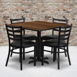 "Flash Furniture Square Table With X-Base And 4 Ladder-Back Chairs, 30"" x 36"", Walnut/Black"