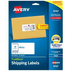 "Avery® TrueBlock® Permanent Inkjet Shipping Labels, 8163, 2"" x 4"", White, Pack Of 250"