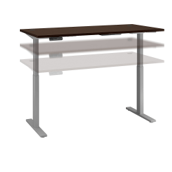 """Bush Business Furniture Move 60 Series 72""""W x 30""""D Height Adjustable Standing Desk, Mocha Cherry/Cool Gray Metallic, Standard Delivery"""