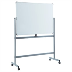 "Lorell® Magnetic Dry-Erase Whiteboard Easel, 36"" x 48"", Aluminum Frame With Silver Finish"