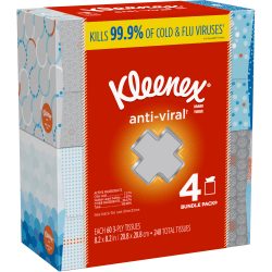 Kleenex® Anti-Viral 3-Ply Facial Tissues, White, 60 Tissues Per Box, Pack Of 4 Boxes