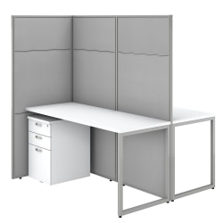 "Bush Business Furniture Easy Office 60""W 2-Person Cubicle Desk With File Cabinets And 66""Panels, Pure White/Silver Gray, Standard Delivery"