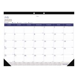 "Blueline® Duraglobe™ Monthly Academic Desk Pad Calendar, 22"" x 17"", Blue/Gray, June 2020 to July 2021"
