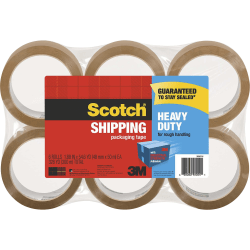 "Scotch Heavy Duty Shipping Packaging Tape - 54.60 yd Length x 1.88"" Width - 6 - Tan"