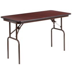 "Flash Furniture High-Pressure Folding Banquet Table, 30""H x 24""W x 48""D, Mahogany"