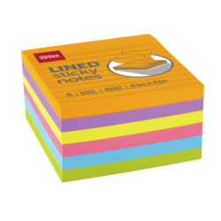 """Office Depot® Brand Lined Sticky Notes, 4"""" x 4"""", Assorted Vivid Colors, 100 Sheets Per Pad, Pack Of 6 Pads"""