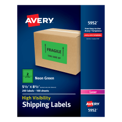 """Avery® High-Visibility Permanent Shipping Labels, 5952, 5 1/2"""" x 8 1/2"""", Neon Green, Pack Of 200"""