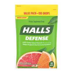 Halls Assorted Citrus Defense Drops, Pack Of 180