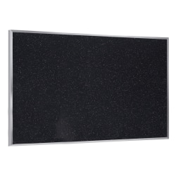 """Ghent Recycled Rubber Bulletin Board, 4 1/24"""" x 10 1/24"""", Confetti Silver Aluminum Frame"""