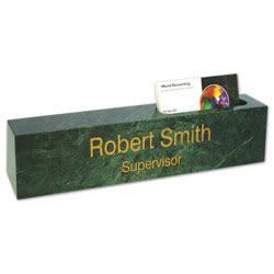 "Custom Engraved Green Marble Desk Bar And Business Card Holder, 2-1/4"" x 8"""