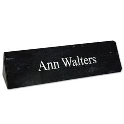 """Custom Engraved Black Marble Desk Bar, 2""""x 8"""""""