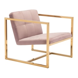 Zuo Modern Alt Arm Chair, Pink/Gold