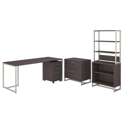 """kathy ireland® Office by Bush Business Furniture Method 72""""W Table Desk With File Cabinets And Bookcase, Storm Gray, Standard Delivery"""