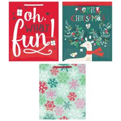 "Amscan Christmas Large Vertical Gift Bags, 11-1/4""H x 9-1/2""W x 4""D, Deer, Pack Of 12 Bags"