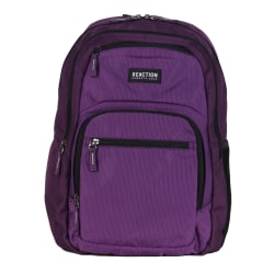 "Kenneth Cole Reaction Polyester Double Gusset Computer Backpack With 15.6"" Laptop Pocket, Purple"