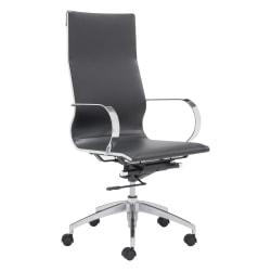 Zuo Modern® Glider High-Back Office Chair, Black/Chrome