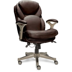 Serta® Works Bonded Leather Mid-Back Office Chair With Back In Motion Technology, Old Chestnut/Silver