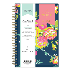 """Blue Sky™ Day Designer Weekly/Monthly CYO Planner, 5"""" x 8"""", Peyton Navy/Gold Foil, July 2020 To June 2021, 107927-A"""
