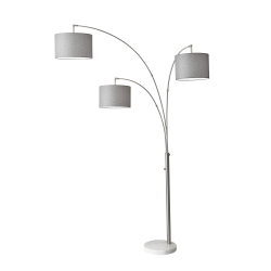 "Adesso® Bowery 3-Arm Arc Floor Lamp, 83""H, Gray Shade/White Base"