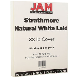 "JAM Paper® Cover Card Stock, 8 1/2"" x 11"", 88 Lb, Strathmore Natural White Laid, Pack Of 50 Sheets"