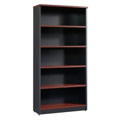 Sauder® Via 5-Shelf Library, Classic Cherry/Soft Black